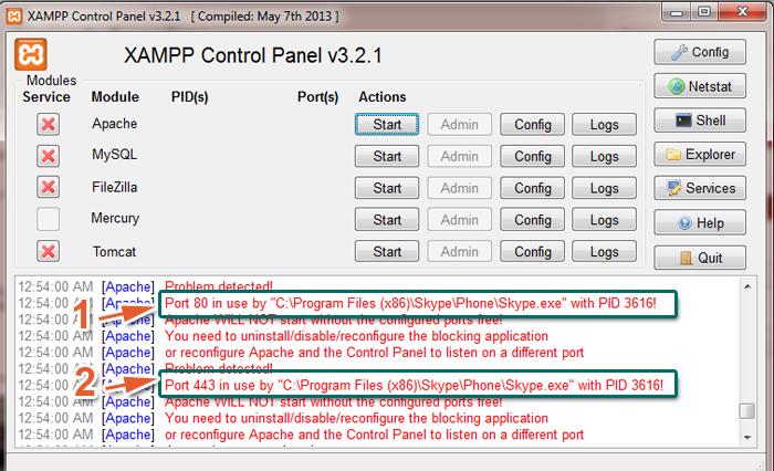 Lỗi XAMP không khởi động được Apache