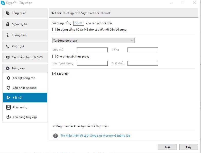 chỉnh sửa tùy chọn trong skype